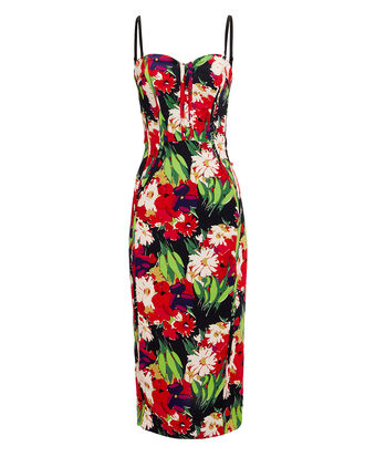 Saffron Bustier Midi Dress, BLACK/RED FLORAL, hi-res
