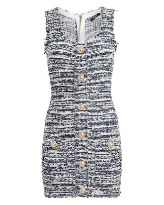Tweed Sleeveless Mini Dress, WHITE/BLUE, hi-res