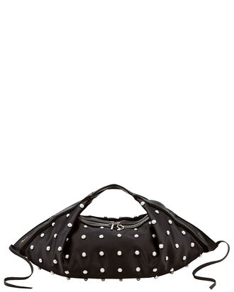 Luna Studded Leather Mini Hobo Bag, BLACK, hi-res