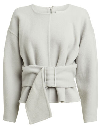 Belted Wool-Blend Sweater, DOVE GREY, hi-res