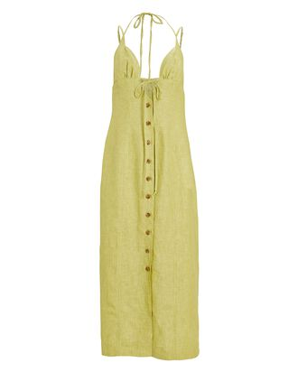 Tie Halter Linen Midi Dress, GREEN-LT, hi-res