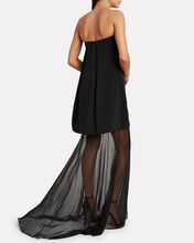 Tiered Strapless Silk Crepe Gown, BLACK, hi-res