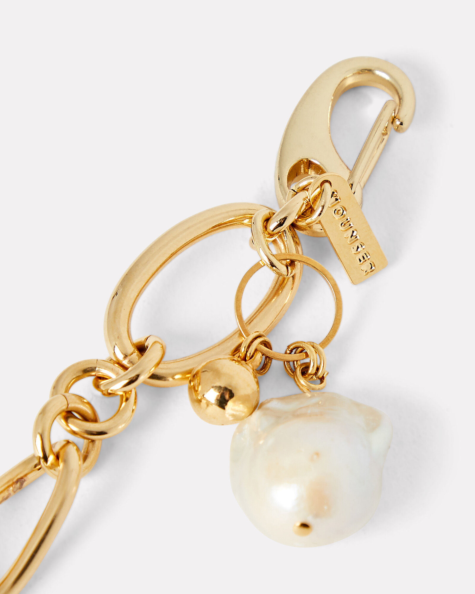 Waxing Chain-Link Pearl Bracelet, GOLD, hi-res