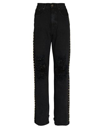 Chris Studded High-Rise Jeans, BLACK, hi-res