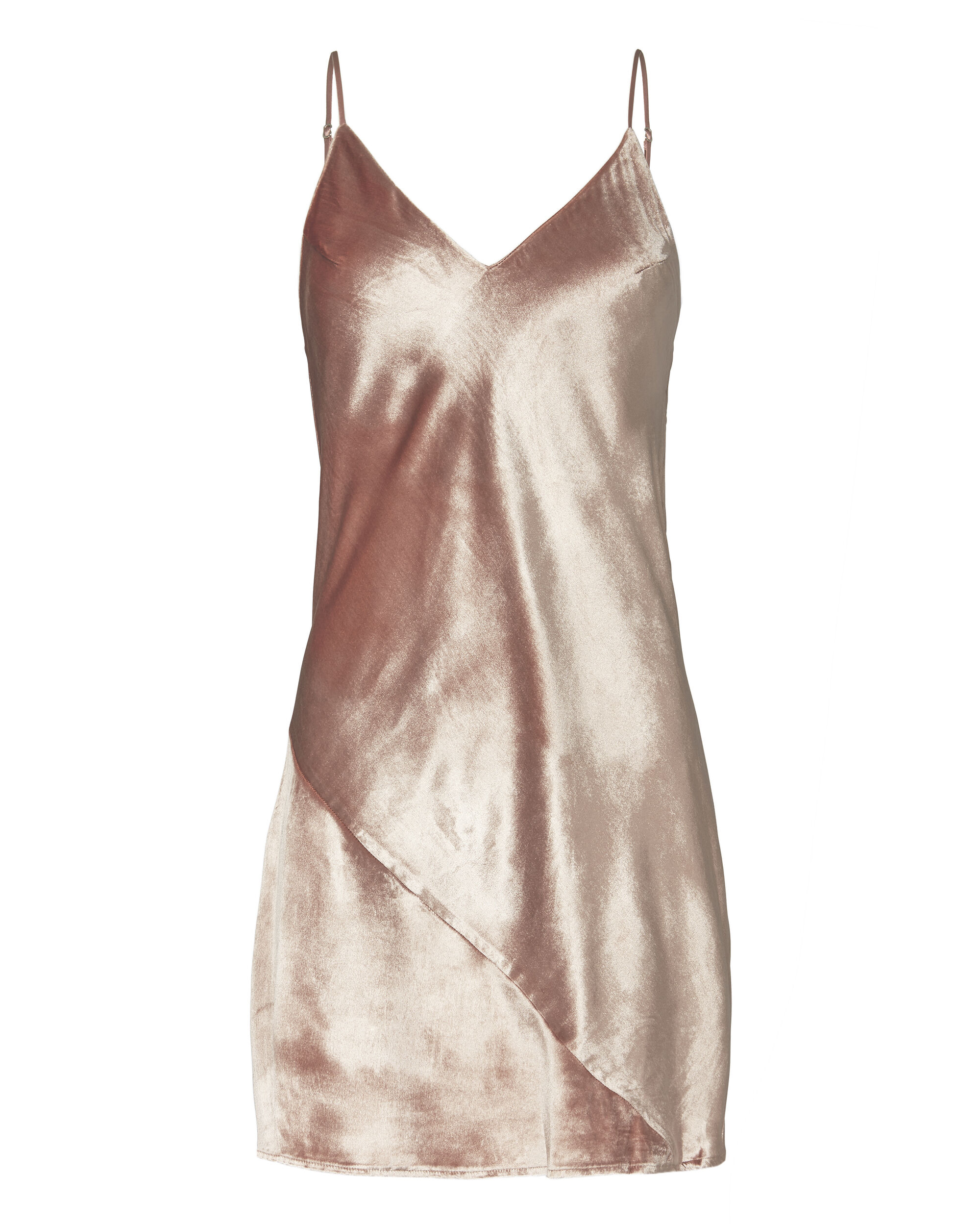 Platinum Rose Velvet Mini Slip Dress, PINK, hi-res