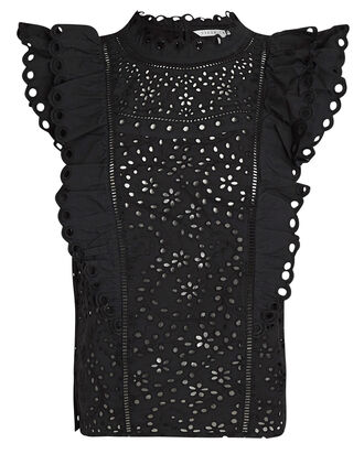 Calisata Ruffled Eyelet Top, BLACK, hi-res