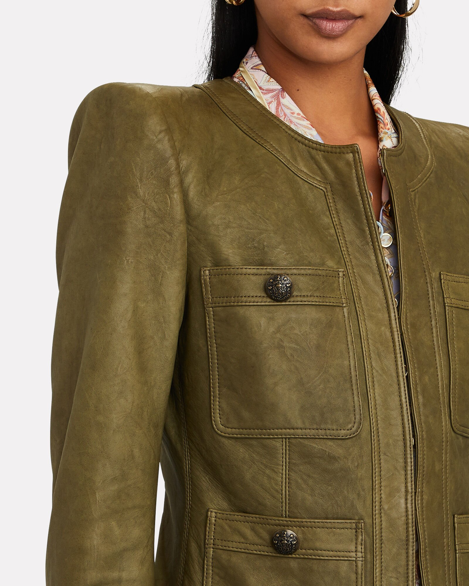 Shanti Collarless Leather Jacket, OLIVE/ARMY, hi-res