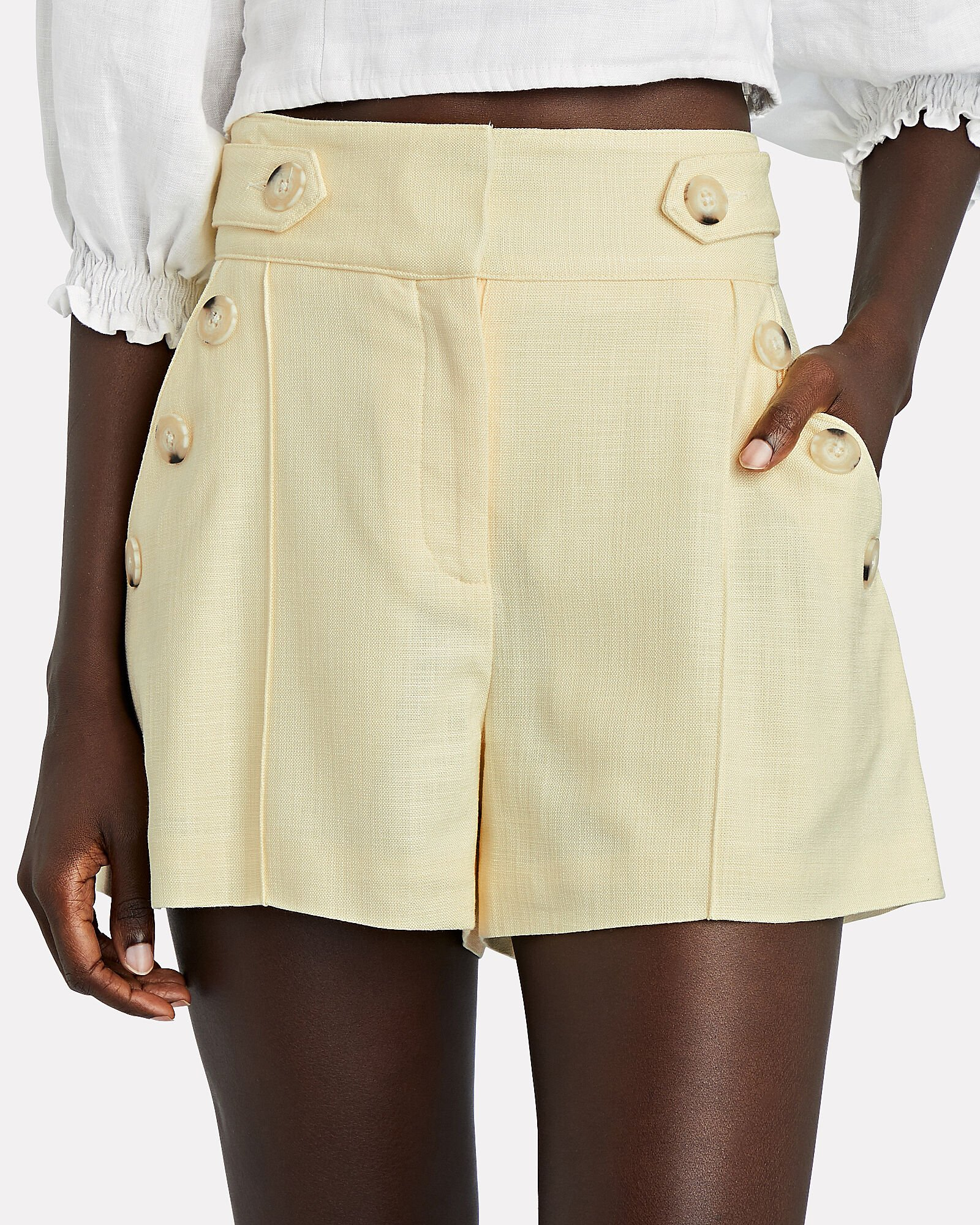 Pine Sateen Button Shorts, YELLOW, hi-res