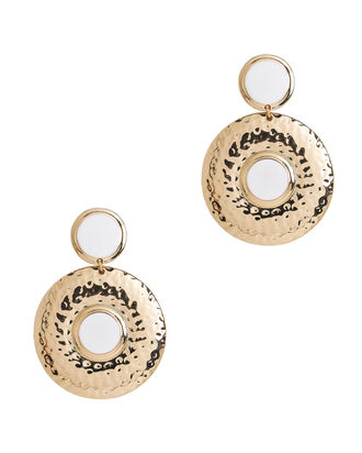 Double Shield White Earrings, WHITE, hi-res