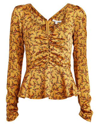 Floral Silk Peplum Blouse, GOLD, hi-res