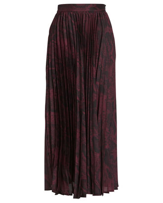 Becky Pleated Python Printed Skirt, BURGUNDY, hi-res