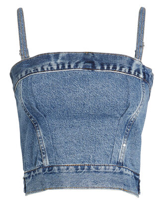 Denim Corset-Look Top, MEDIUM BLUE DENIM, hi-res