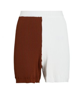 Maki Colorblock Rib Knit Shorts, WHITE/RUST, hi-res