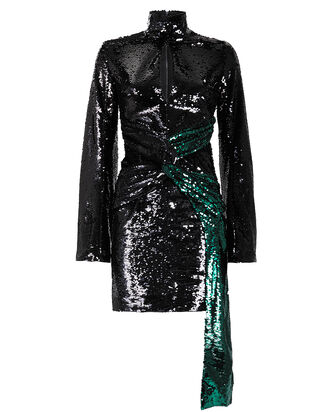 Catherine Long Sleeve Sequin Mini Dress, BLACK/EMERALD, hi-res
