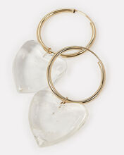 Corazon Gold Quartz Heart Hoops, CLEAR/GOLD, hi-res