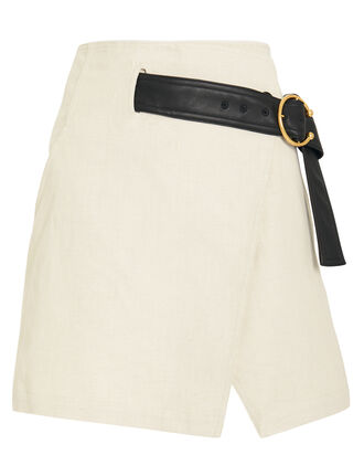 Cami Belted Mini Skirt, BEIGE/BLACK, hi-res