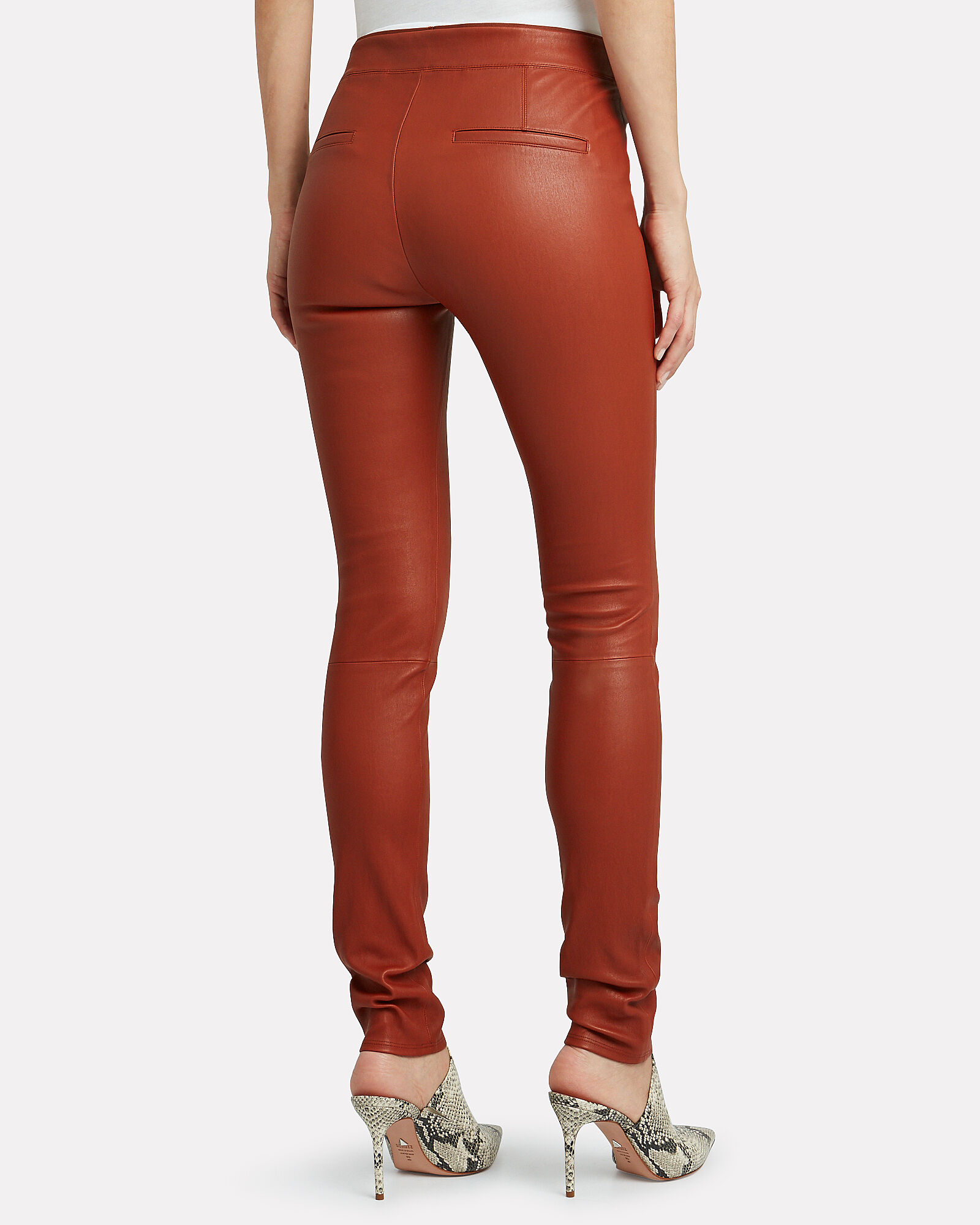 Lambskin Leather Leggings, BROWN, hi-res
