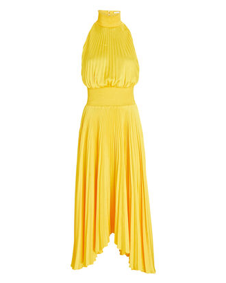 Renzo Pleated Midi Dress, YELLOW, hi-res