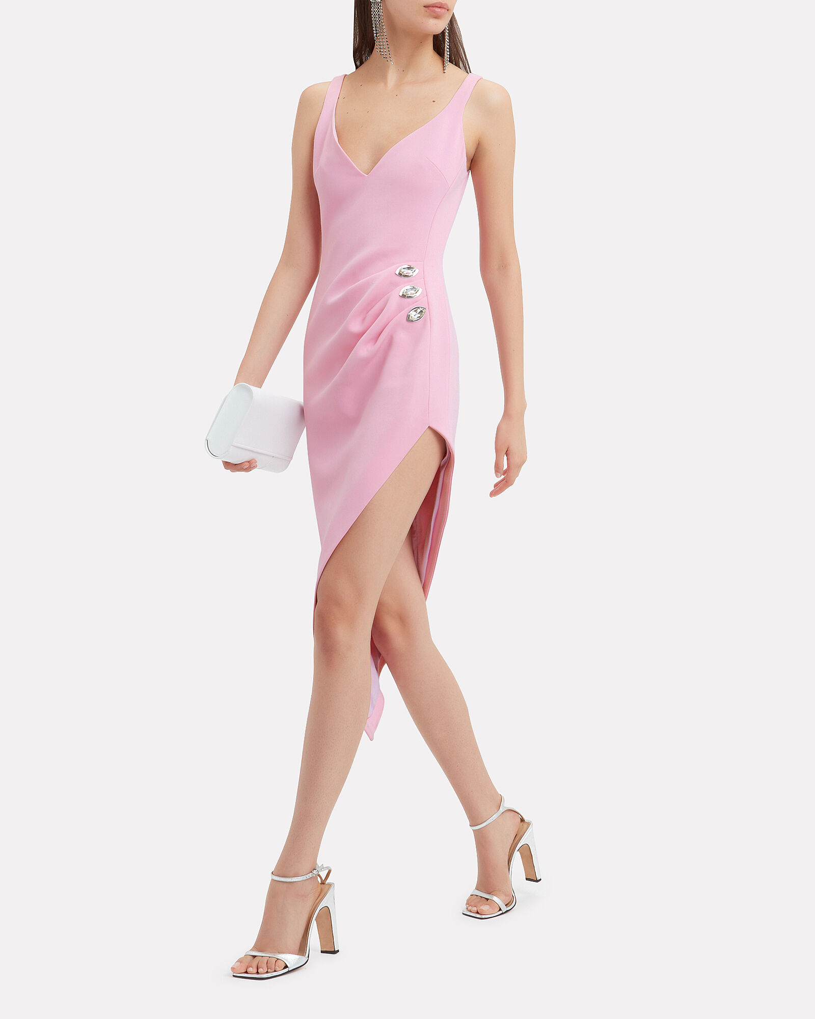 Asymmetric Embellished Midi Dress, PINK, hi-res