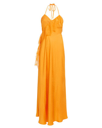 Frilled Jacquard Satin Gown, ORANGE, hi-res