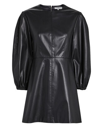 Faux Leather Puff Sleeve Mini Dress, BLACK, hi-res