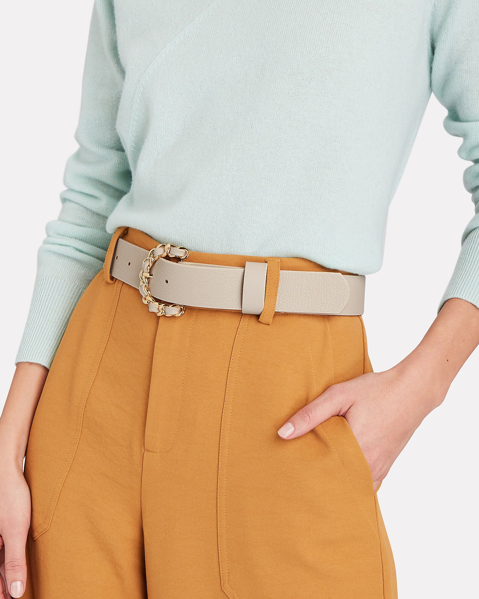 Anabella Braided Buckle Belt, IVORY, hi-res