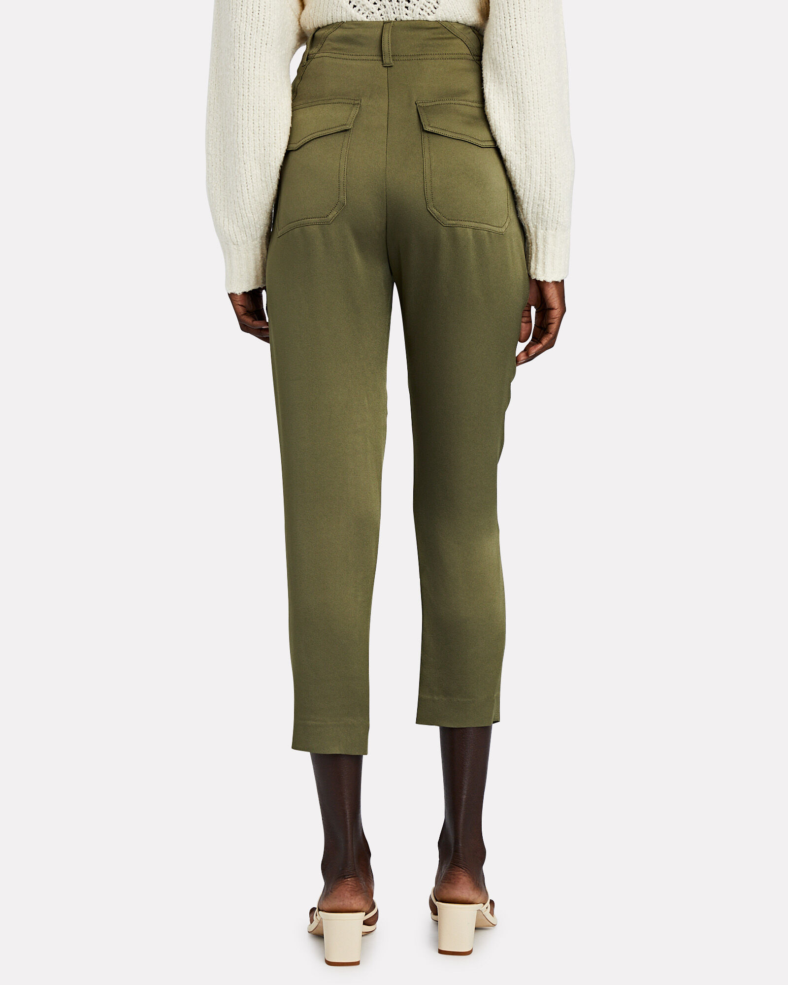 Miranda High-Rise Satin Trousers, OLIVE/ARMY, hi-res