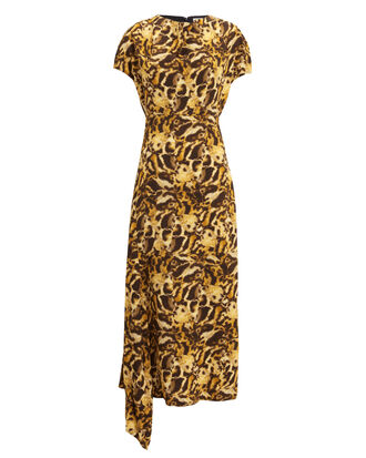 Drape Neck Printed Midi Dress, YELLOW, hi-res