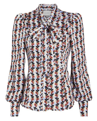 Erie Daisy Tie Neck Blouse, MULTI, hi-res
