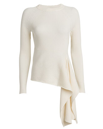 Ribbed Tie Waist Crewneck Sweater, WHITE, hi-res
