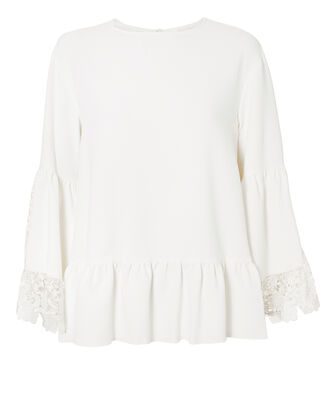 Lace Trim Top, WHITE, hi-res