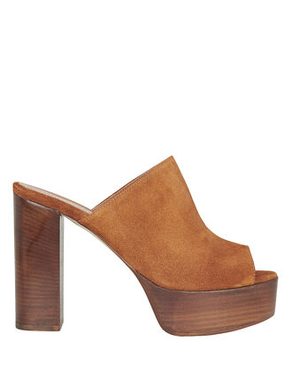 Suede Platform Slides, BROWN, hi-res