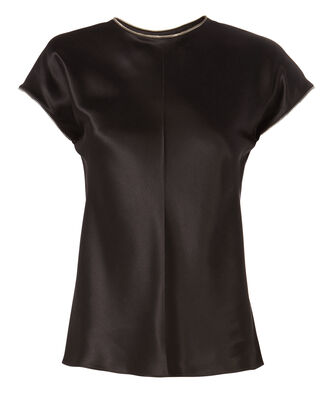 Zip Detail Satin T-Shirt, BLACK, hi-res
