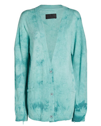Ella Tie-Dye Cashmere Cardigan, LIGHT GREEN/BLUE, hi-res
