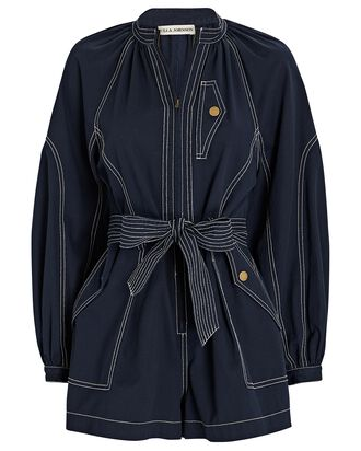 Piper Belted Playsuit, NAVY, hi-res