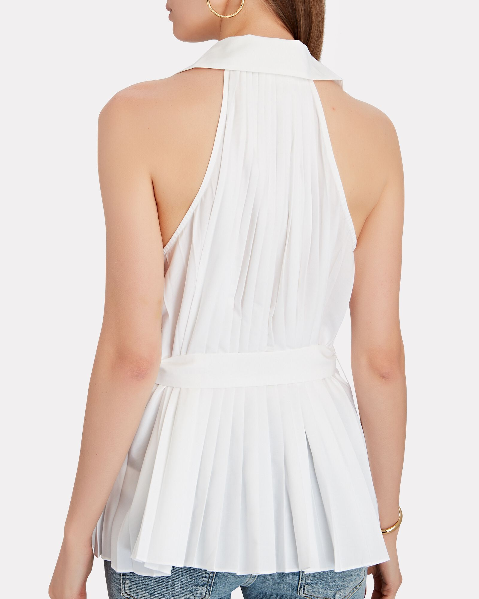Prospect Belted Pleated Poplin Top, WHITE, hi-res