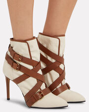 Jackie Canvas Buckled Strap Booties, IVORY, hi-res