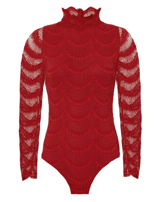Mock Neck Lace Bodysuit, RED, hi-res