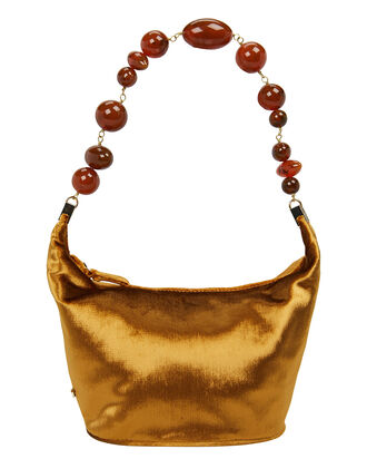 Gia Beaded Top Handle Velvet Clutch, GOLD, hi-res