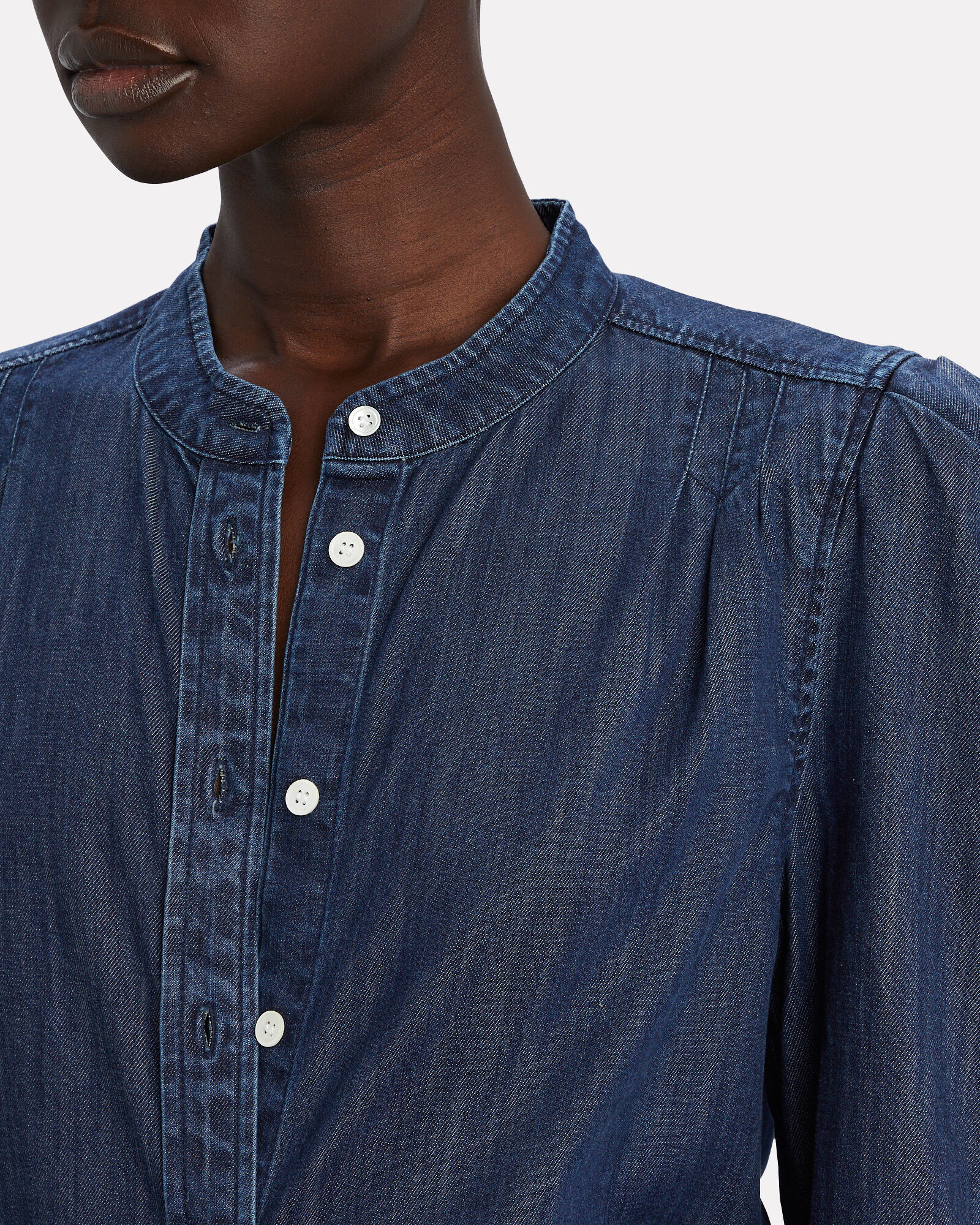 Charlie Puff Sleeve Denim Button-Down, DENIM-DRK, hi-res