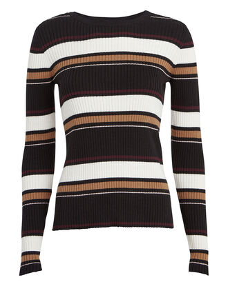 Striped Knit Crewneck Sweater, BLACK/BORDEAUX STRIPE, hi-res