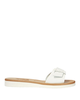 Aglaia Buckle Flat Sandals, WHITE, hi-res