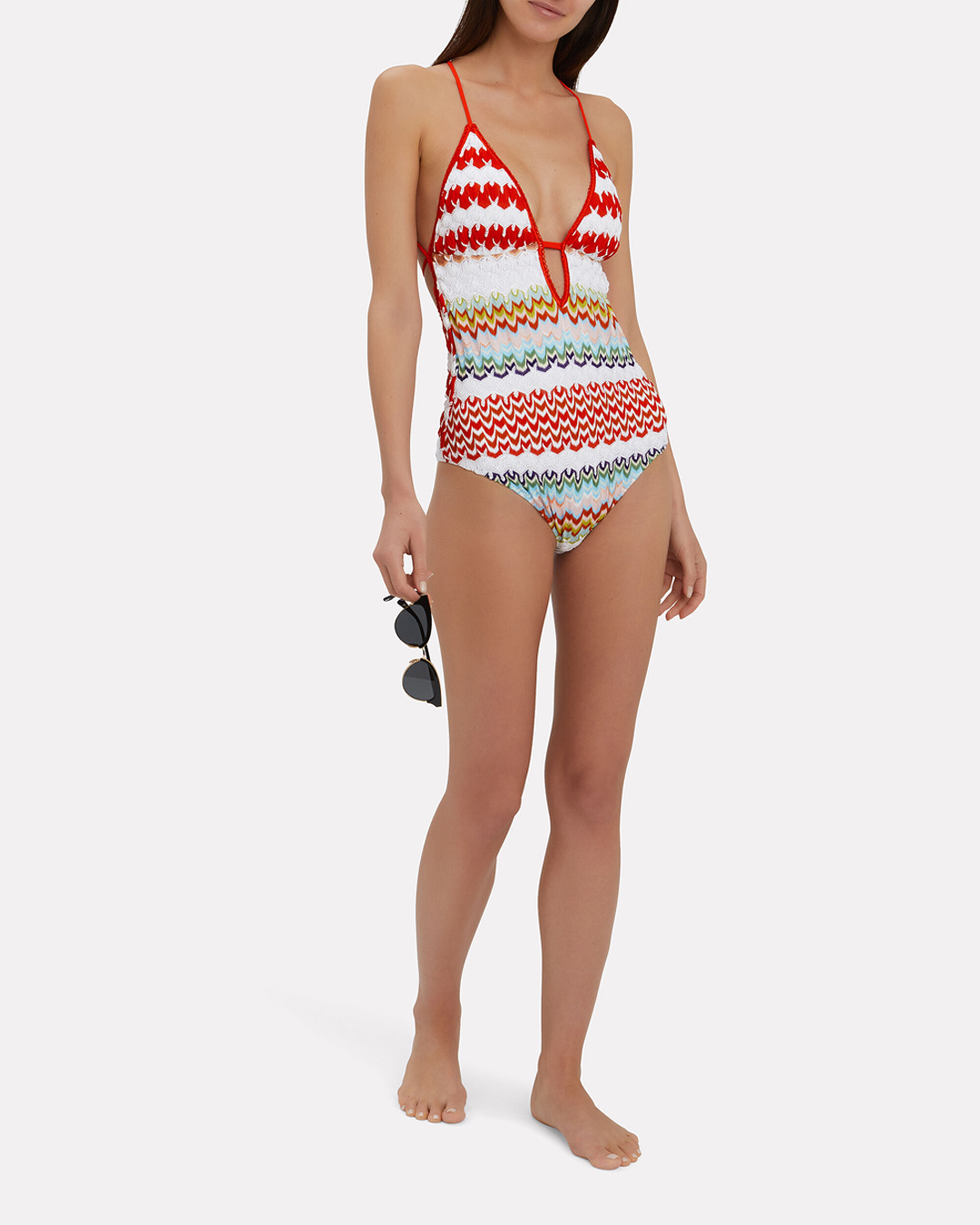 Crochet One Piece Swimsuit, MULTI, hi-res
