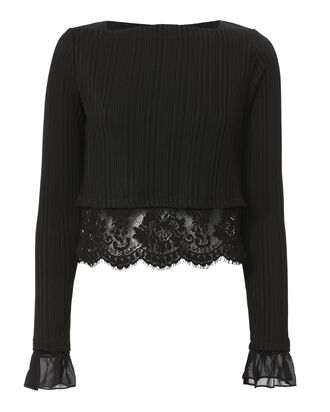 Lace Hem Black Ribbed Crop Blouse, BLACK, hi-res
