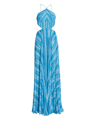 Janet Pleated Striped Gown, BLUE-MED, hi-res