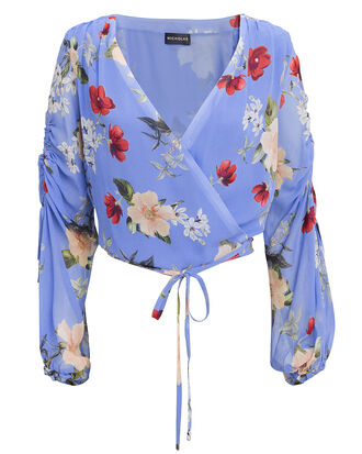 Floral Wrap Top, BLUE-MED, hi-res