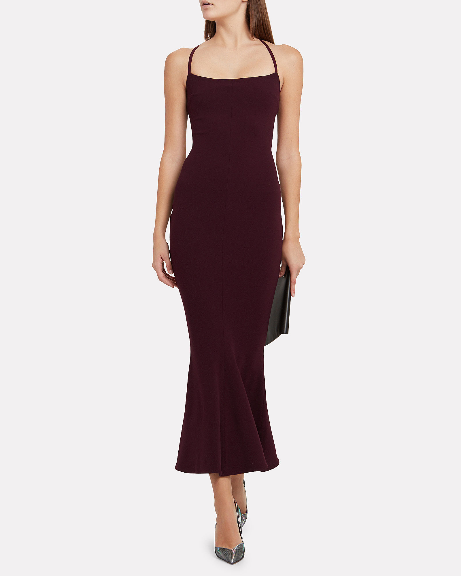 Verla Crepe Flared Dress, PURPLE, hi-res