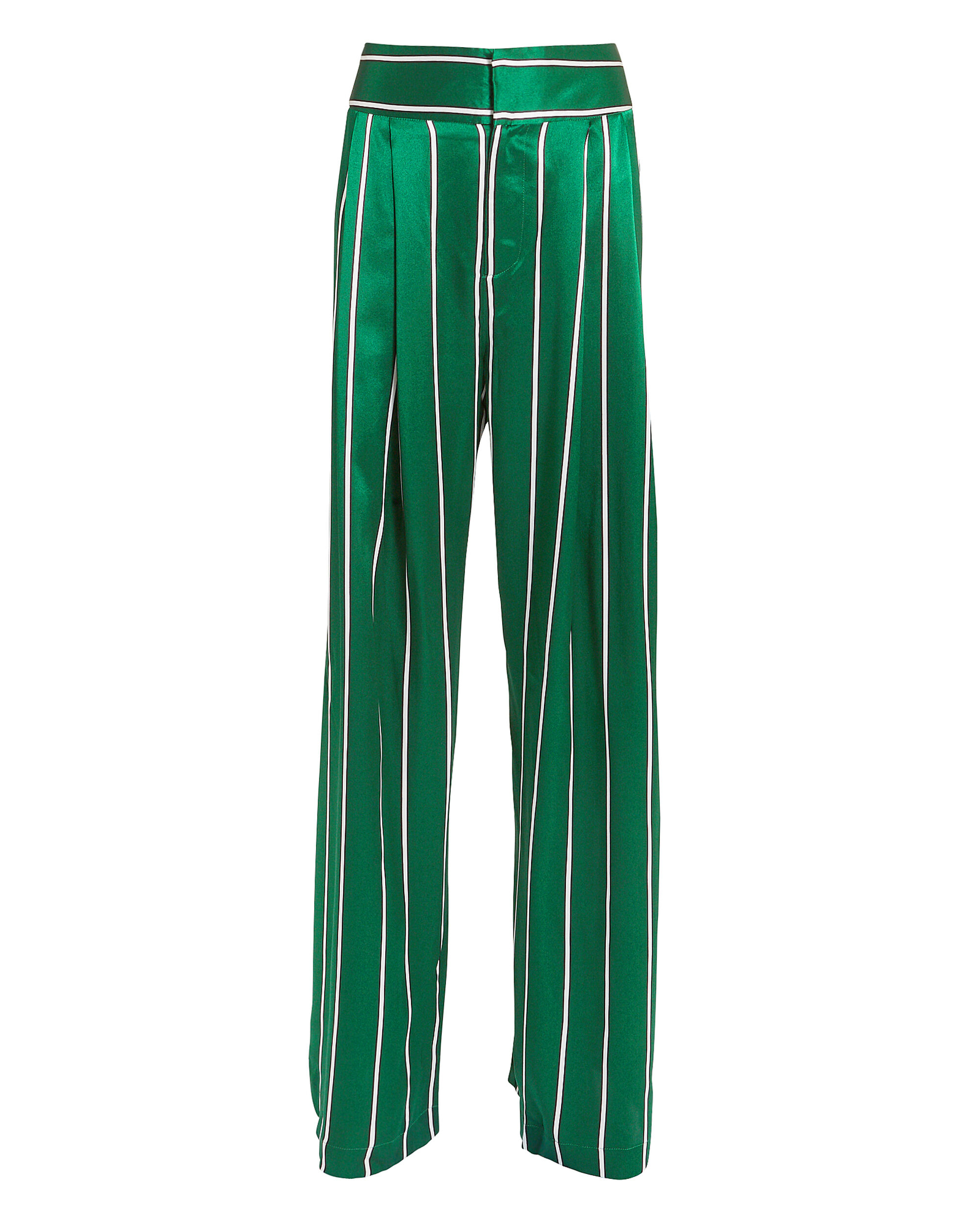 Love Unconditionally Striped Silk-Satin Wide-Leg Pants in Jade