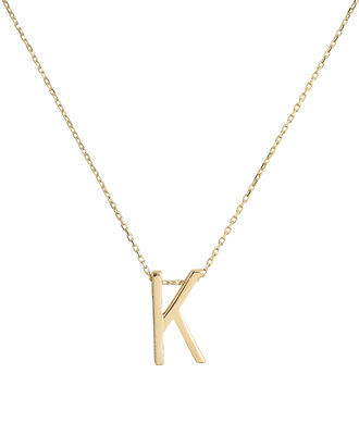 K Alphabet Necklace, GOLD, hi-res