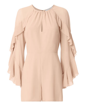 Molly Ruffle Sleeve Romper, BLUSH/NUDE, hi-res